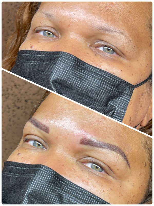Ombre brows permanent makeup before and after treatment