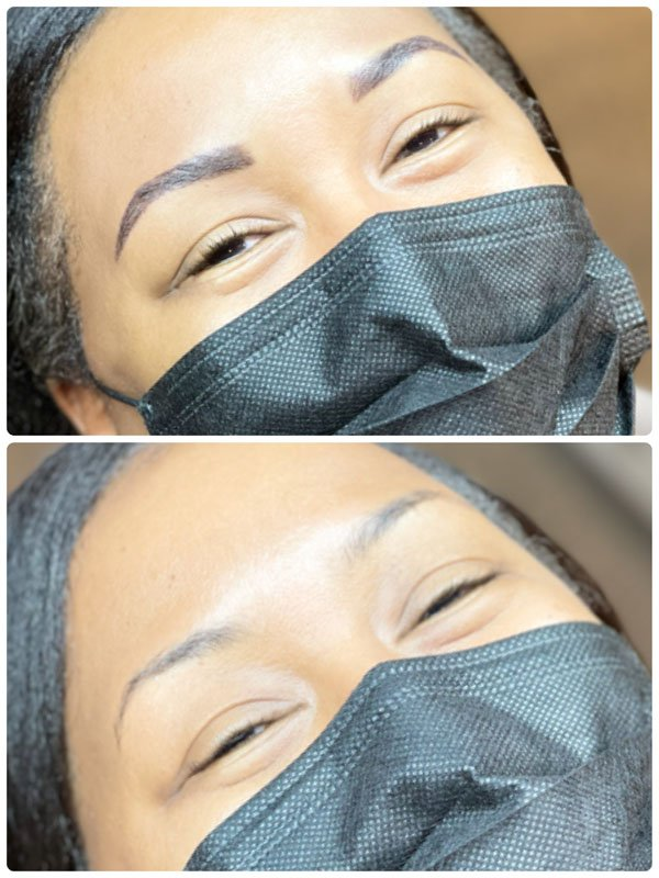 Powder Brows before and after treatment